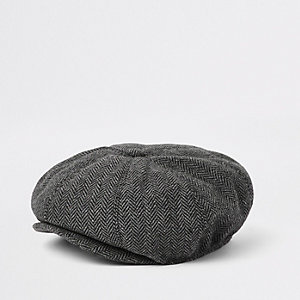 Boys grey herringbone baker boy hat