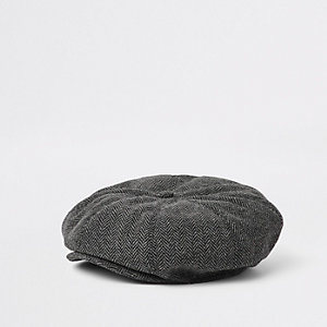 Mini boys grey herringbone baker boy hat