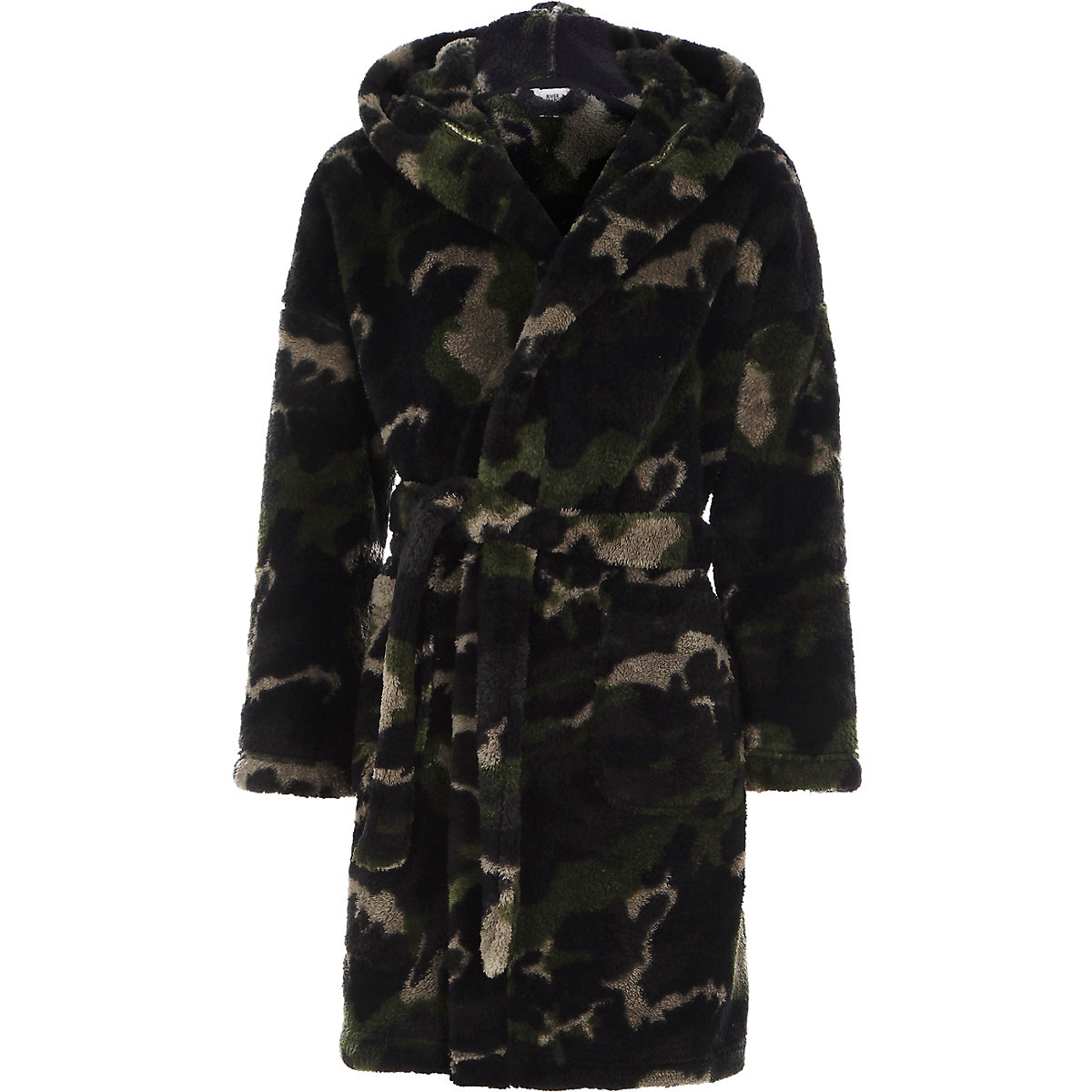 Boys green camo dressing gown