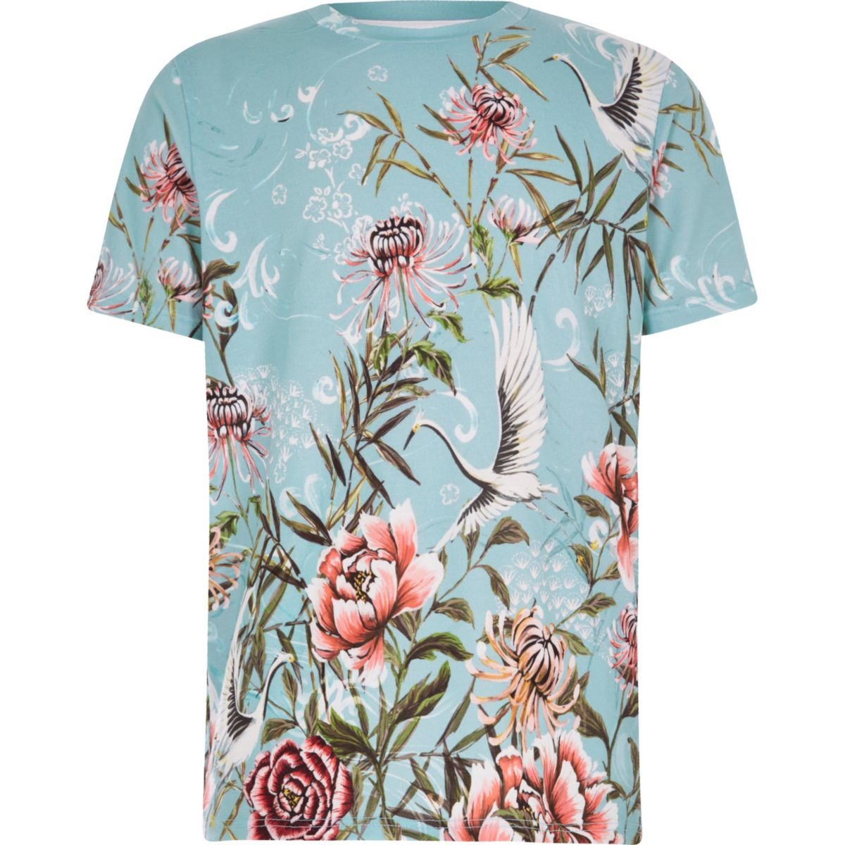 Boys blue floral short sleeve T-shirt