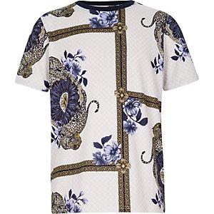Paars T-shirt met sjaalprint voor jongens