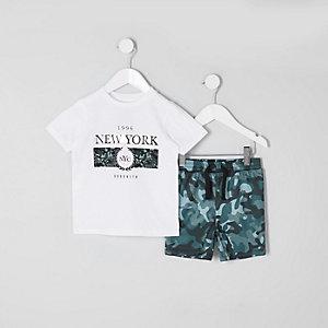 Mini - Outfit met Wit T-shirt met 'New York'-print voor jongens