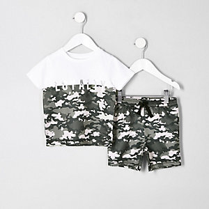 Mini boys white camo 'loyalty' T-shirt outfit