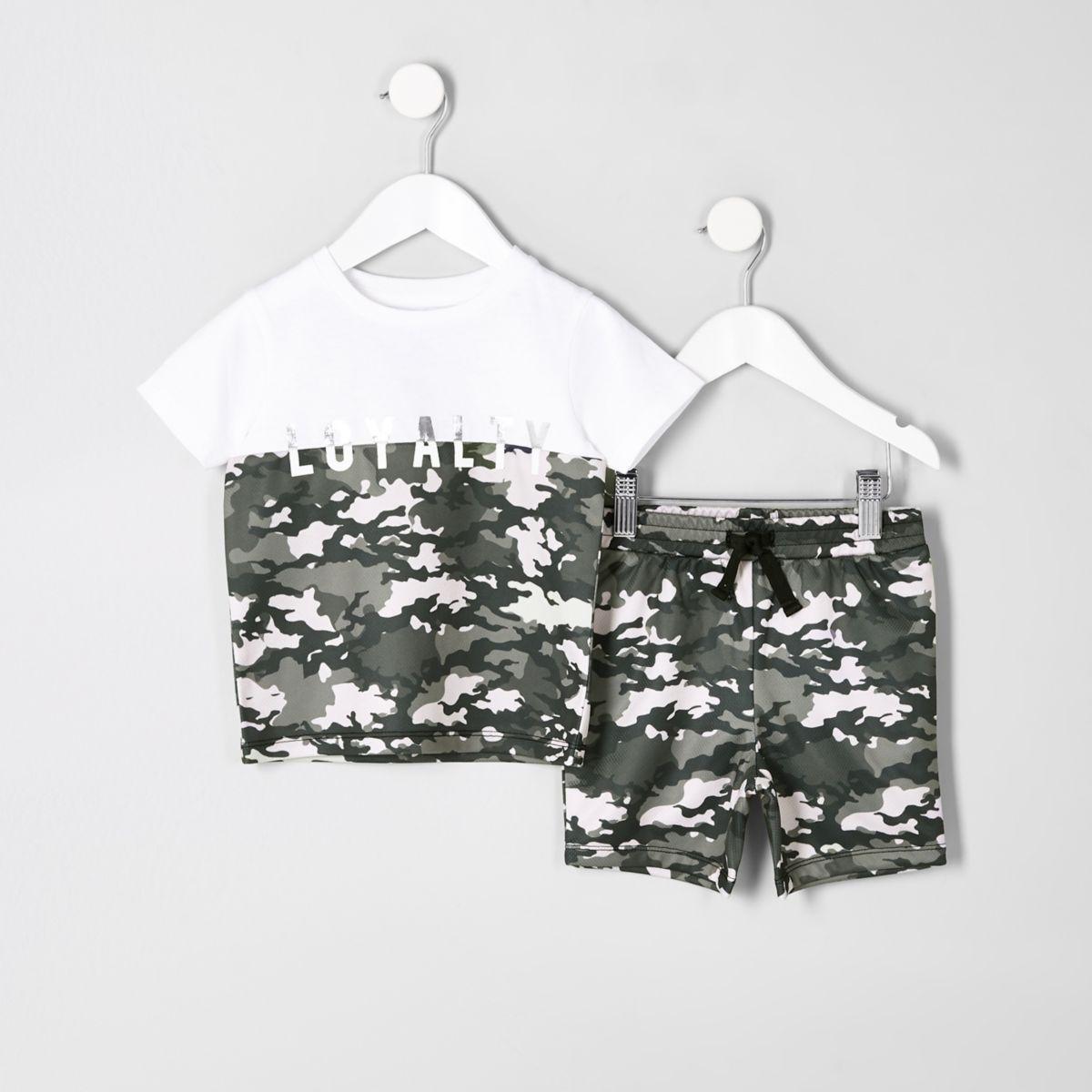 Ensemble t-shirt blanc à imprimé camouflage et « loyalty » mini garçon