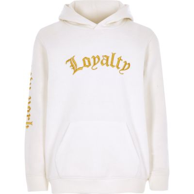 Boys White 'loyalty' Embroidered Hoodie by River Island