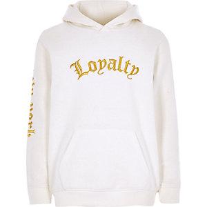 Witte geborduurde hoodie met 'loyalty'-print voor jongens