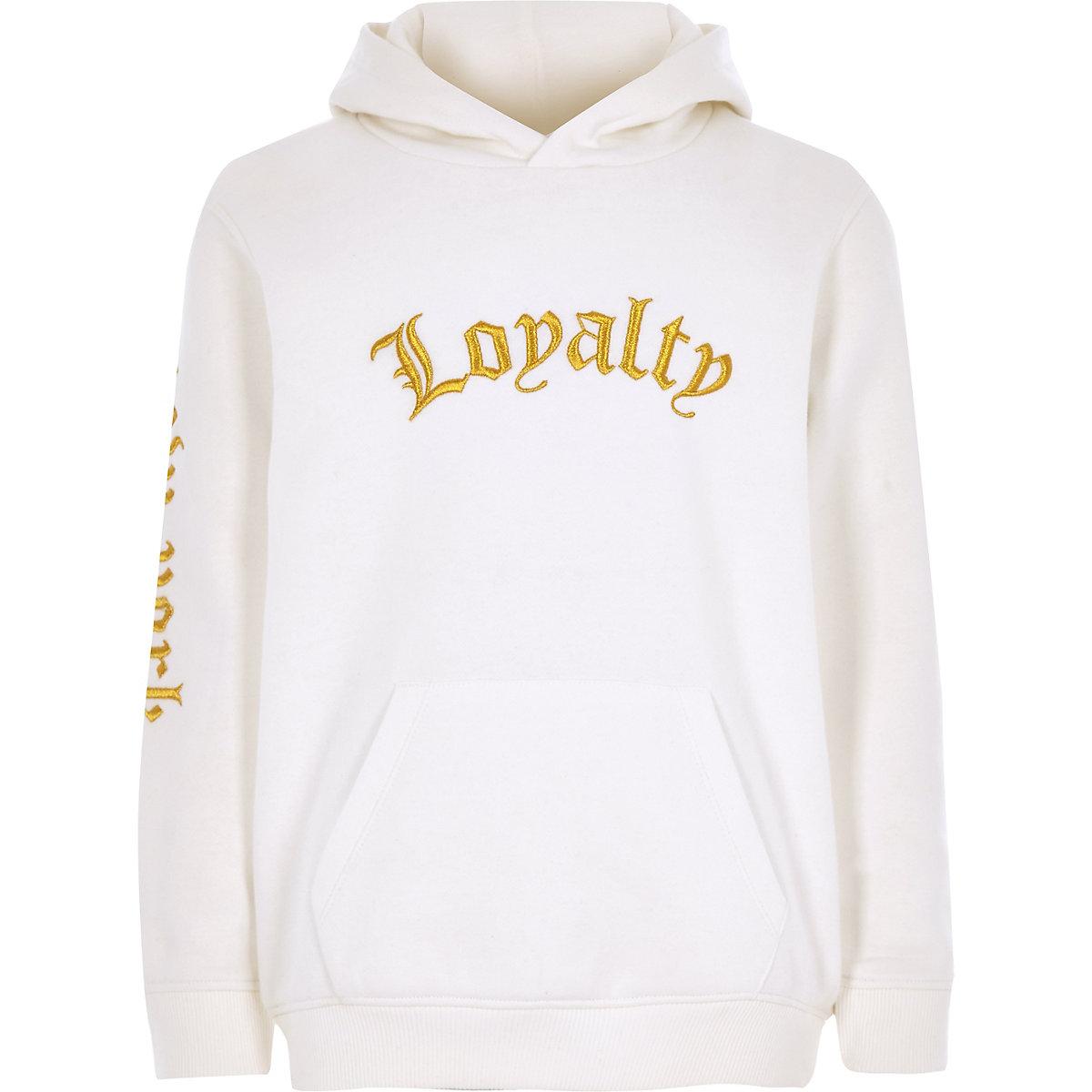 "Weißer, bestickter Hoodie ""loyalty"""