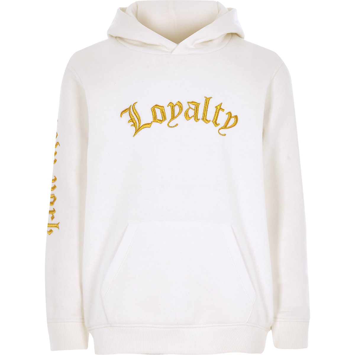 Boys white 'loyalty' embroidered hoodie