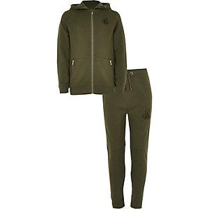 Khakigrüner Piqué-Trainingsanzug