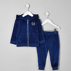 Ensemble pantalon de jogging et sweat à capuche en velours bleu mini garçon