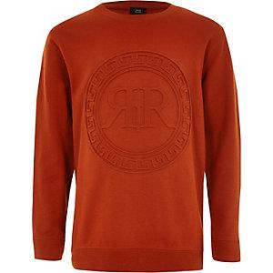 Oranje sweatshirt met RI-reliëf voor jongens