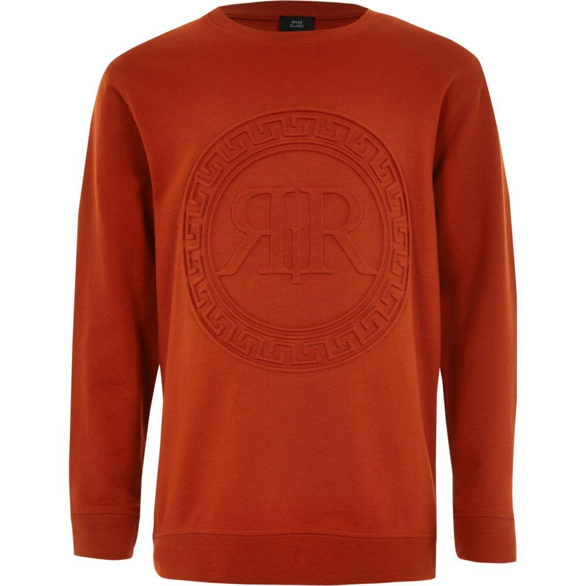 Boys orange RI embossed print sweatshirt