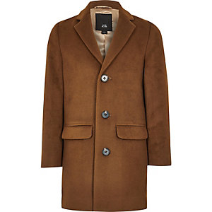 Boys brown wool blend overcoat