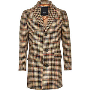 Boys brown check over coat
