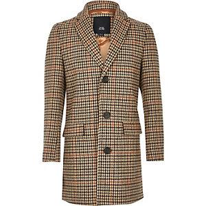 Bruine geruite overjas voor jongens