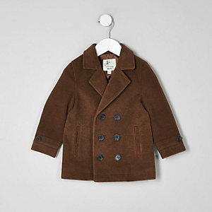 Mini boys brown pea coat