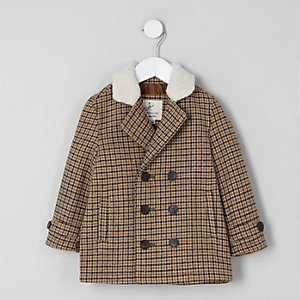 Mini boys brown check fleece trim pea coat