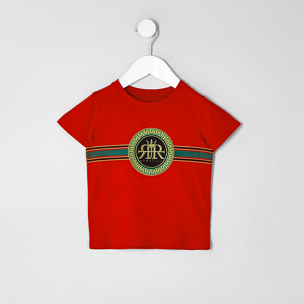 Mini boys red RI circle logo print T-shirt