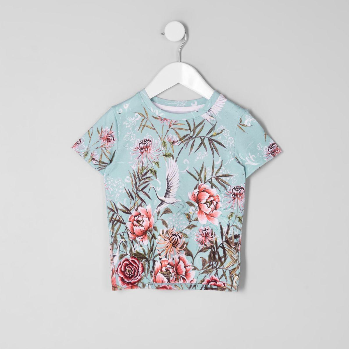 T-shirt bleu imprimé grue mini garçon