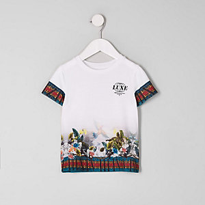 T-shirt blanc à imprimé luxe tropical mini garçon