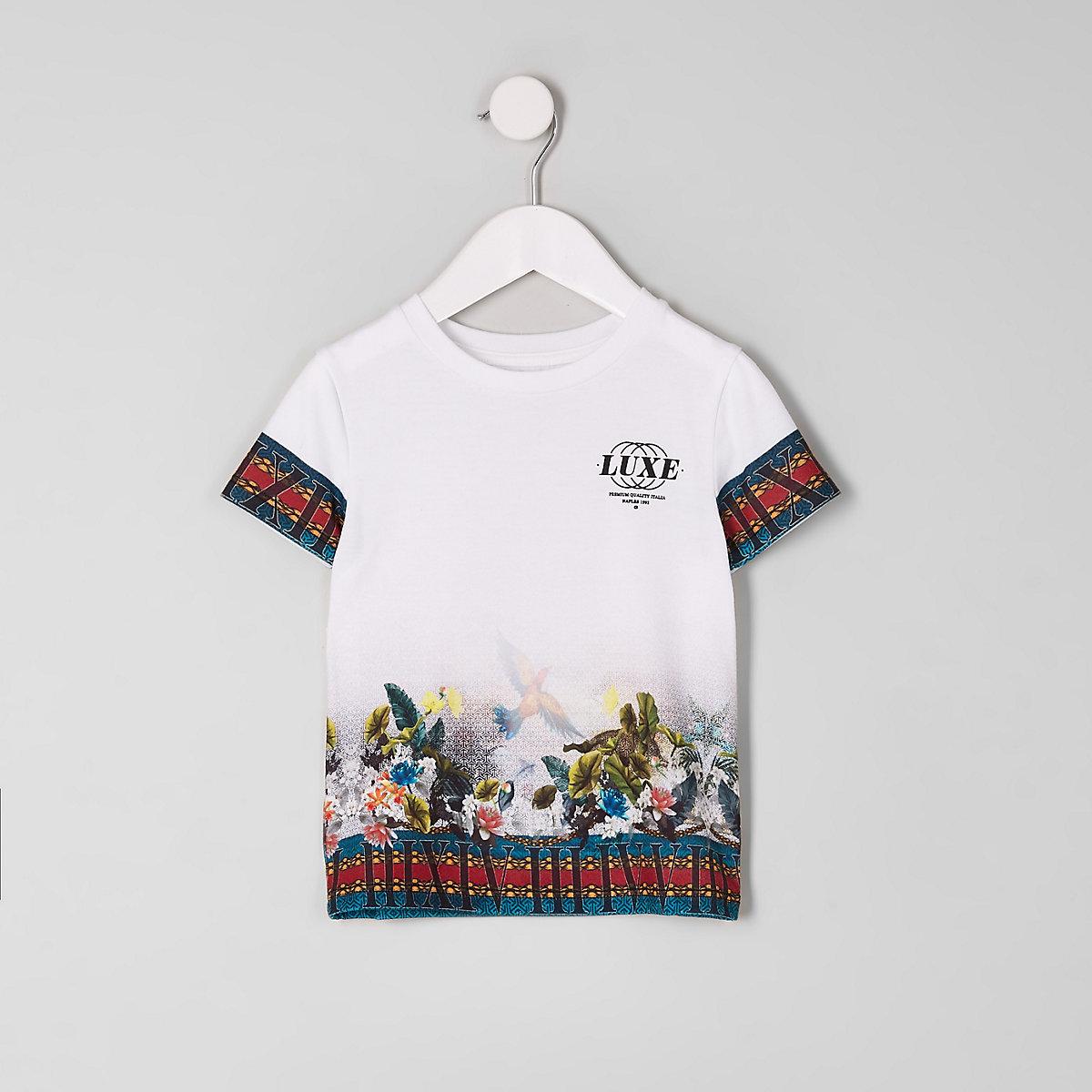 Mini boys white 'luxe' tropical print T-shirt