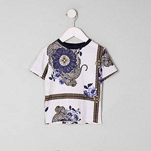 Mini boys white scarf print T-shirt