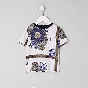 T-shirt blanc imprimé foulard mini garçon