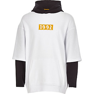 Boys white '1992' double sleeve hoodie