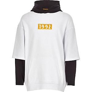 Sweat à capuche «1992» blanc à manches doubles pour garçon