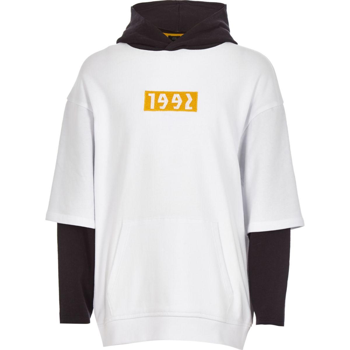 Boys white '1992' double sleeve hoodie