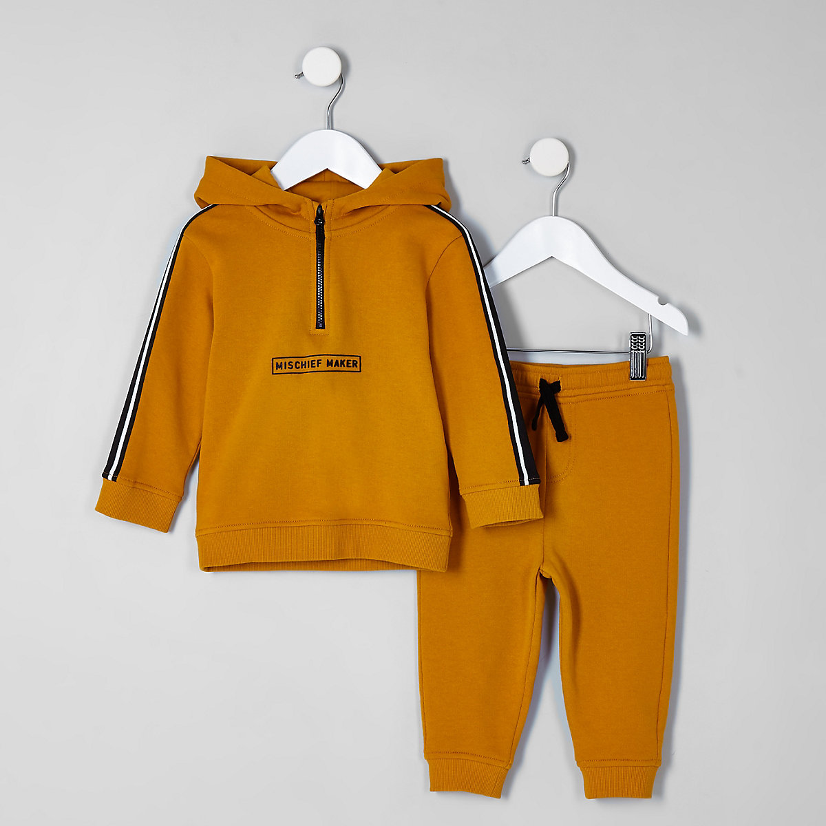 Mini boys yellow 'mischief' hoodie outfit