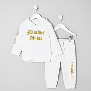 Ensemble sweat à capuche « mischief » blanc mini garçon