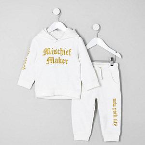 Mini - Witte hoodie met 'misschief'-print voor jongens