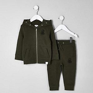 Mini - Set met kaki piqué hoodie en joggingbroek voor jongens