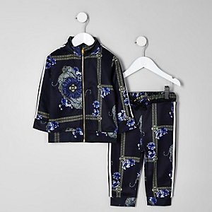 Mini boys purple baroque print tracksuit