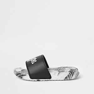 Hype – Schwarze Slipper mit Farbspritzdesign