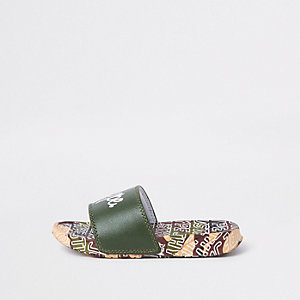 Boys Hype khaki camo print sliders