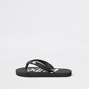 Boys black Hype flip flops