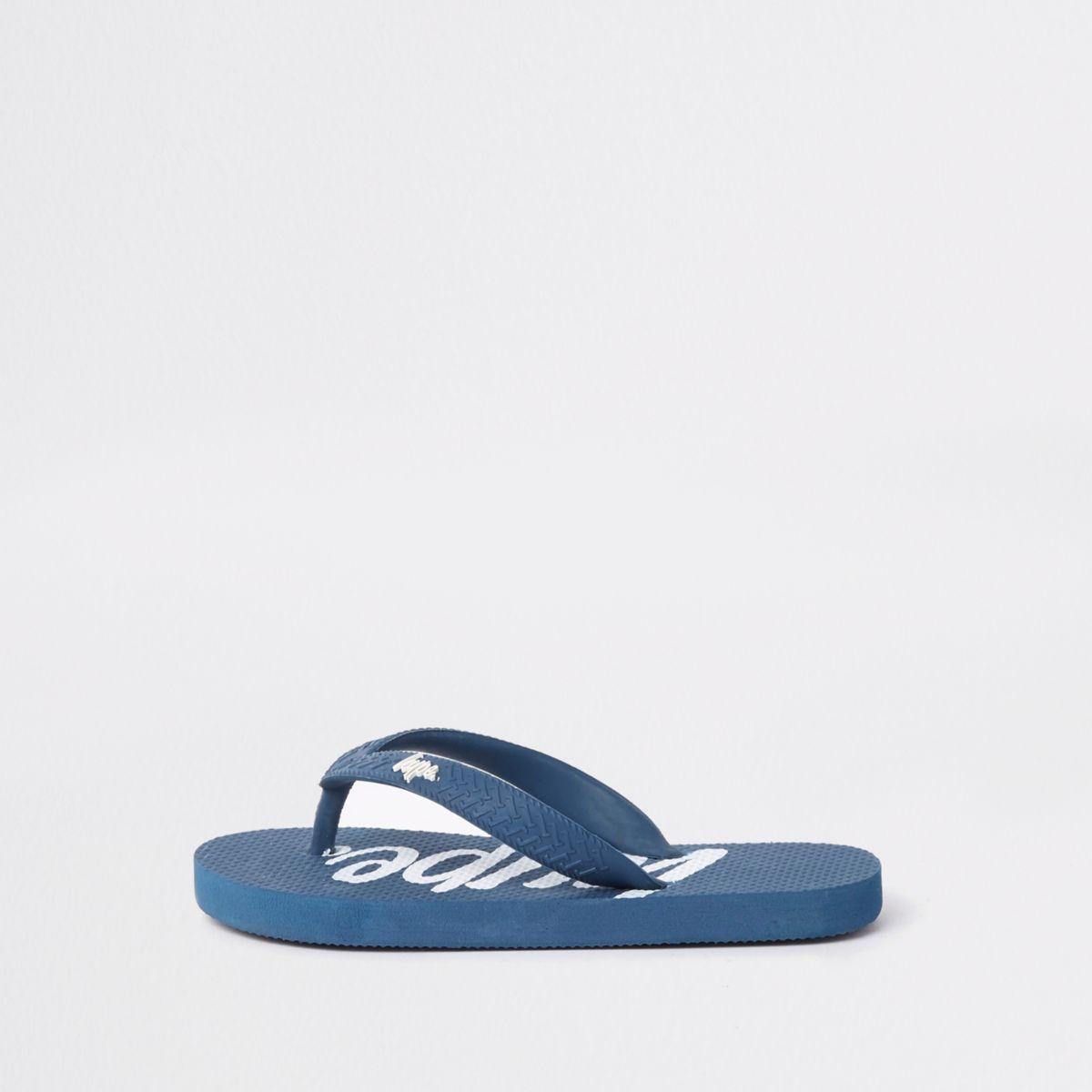 Boys navy Hype flip flops