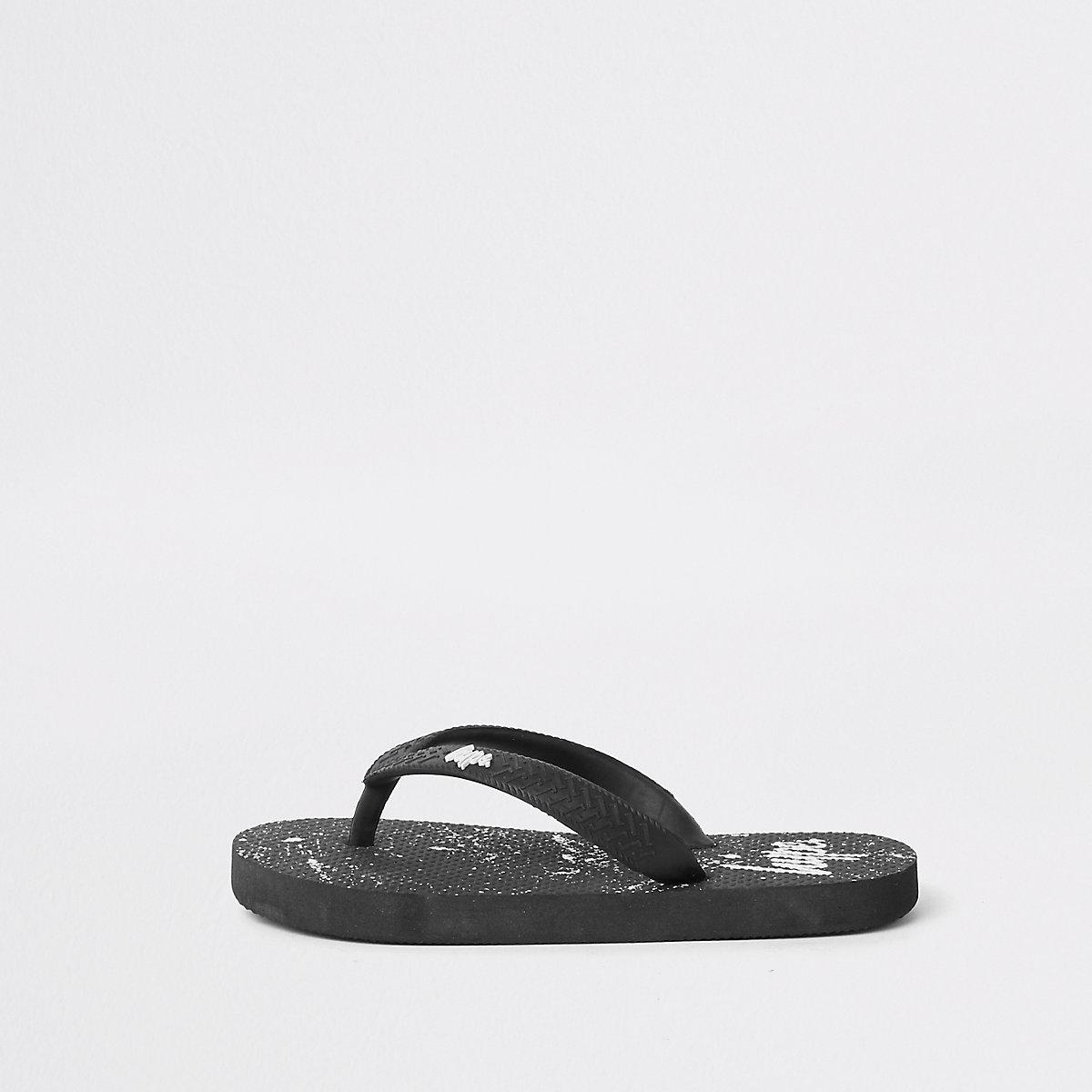 Kids Hype black paint splat flip flops