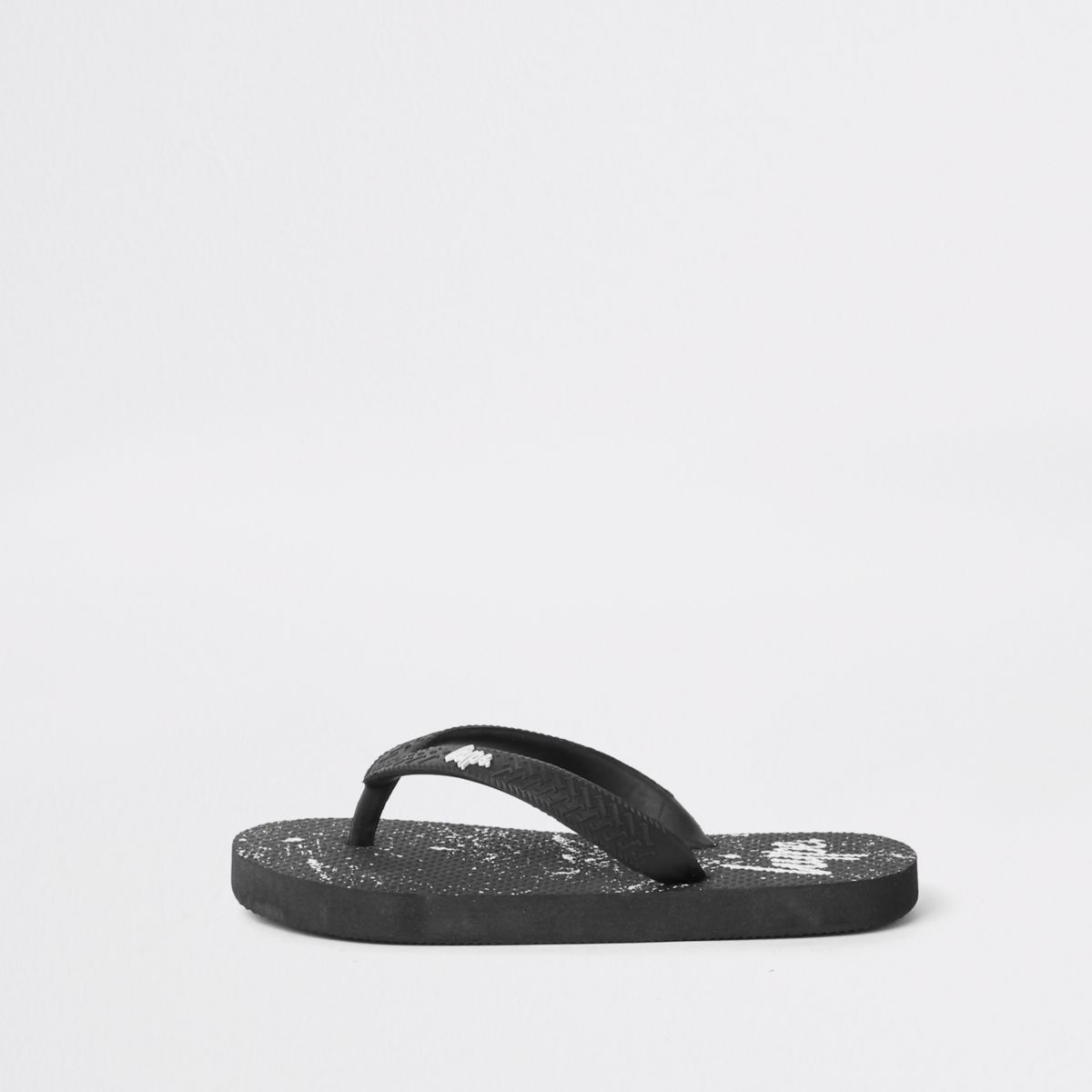 Boys Hype black paint splat flip flops