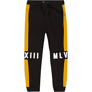 Boys black contrast panel jogger