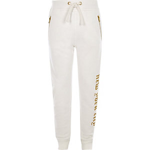 Boys white embroidered joggers
