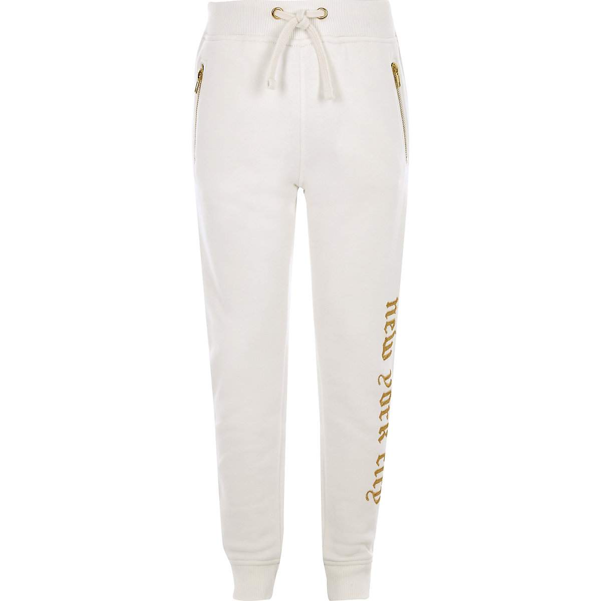 Pantalon de jogging blanc brodé pour garçon