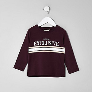 Mini - Rood T-shirt met 'exclusive'-print en lange mouwen voor jongens