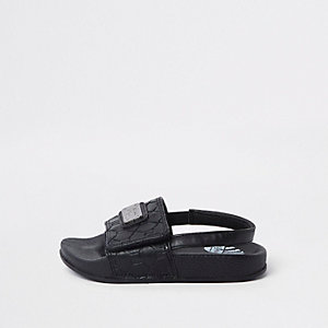 Mini boys black RI monogram sliders