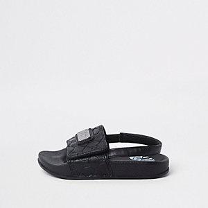 Mini - Zwarte slippers met RI-monogram voor jongens