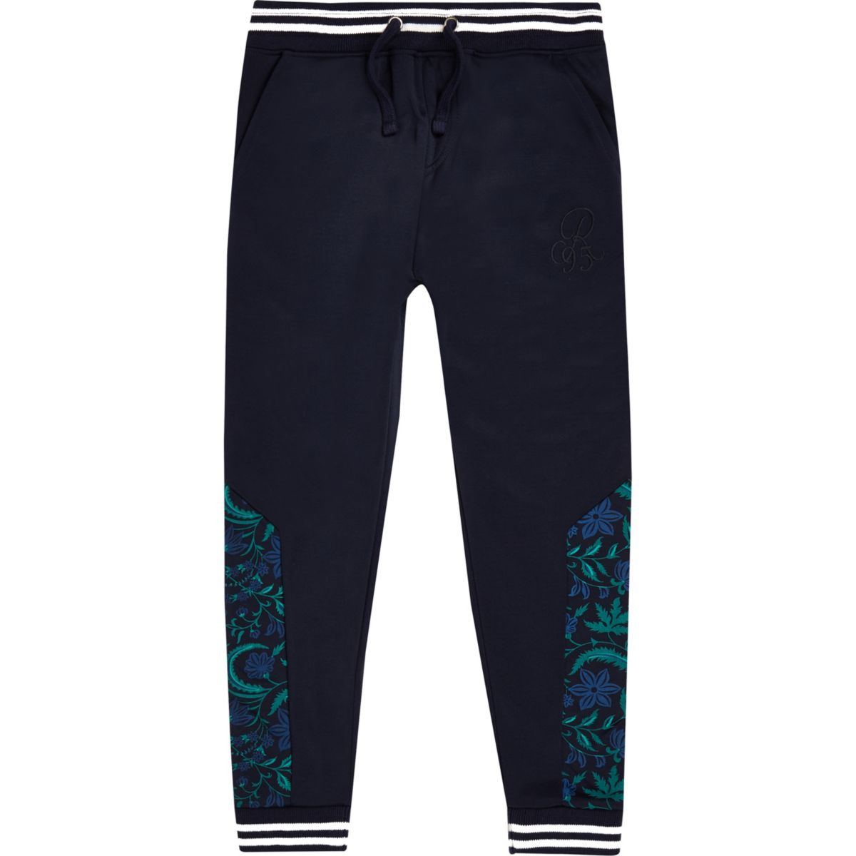 Boys navy floral print tape track joggers