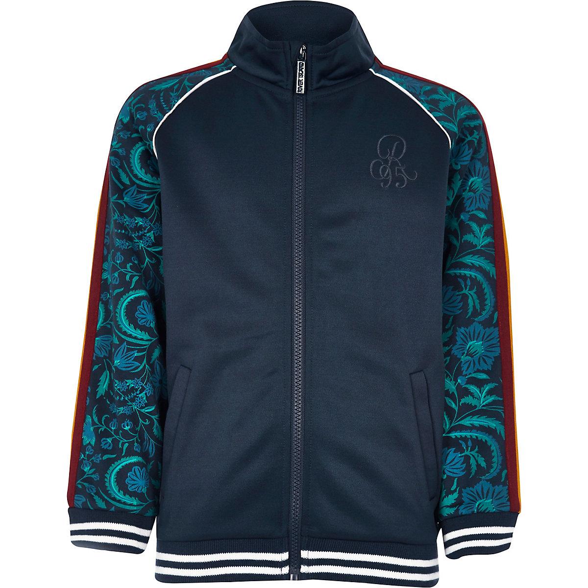 Boys navy floral printed track jacket