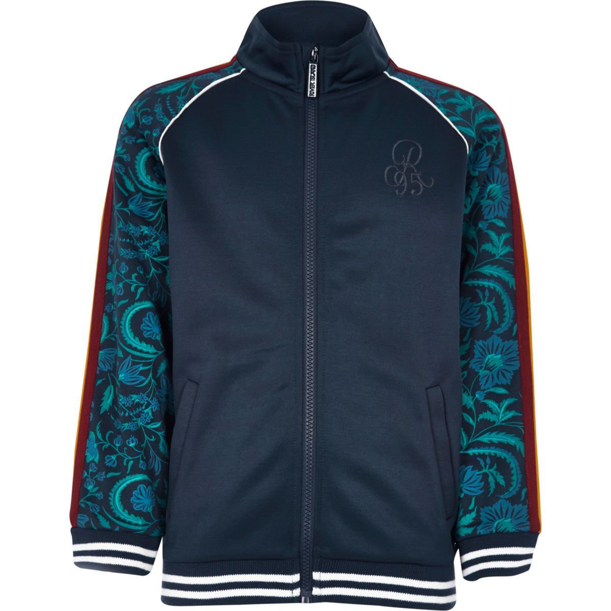Boys navy floral printed track jacket